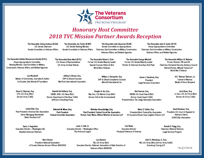 2018 TVC Pro Bono Mission Partner Awards Reception