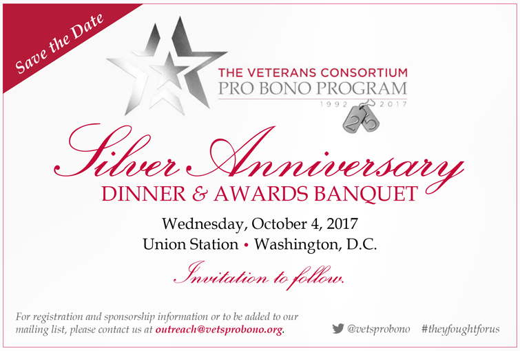 Save the Date The Veterans Consortium 25th Anniversary Gala
